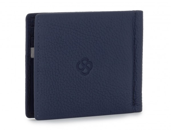 leather wallet with Money clip blue side