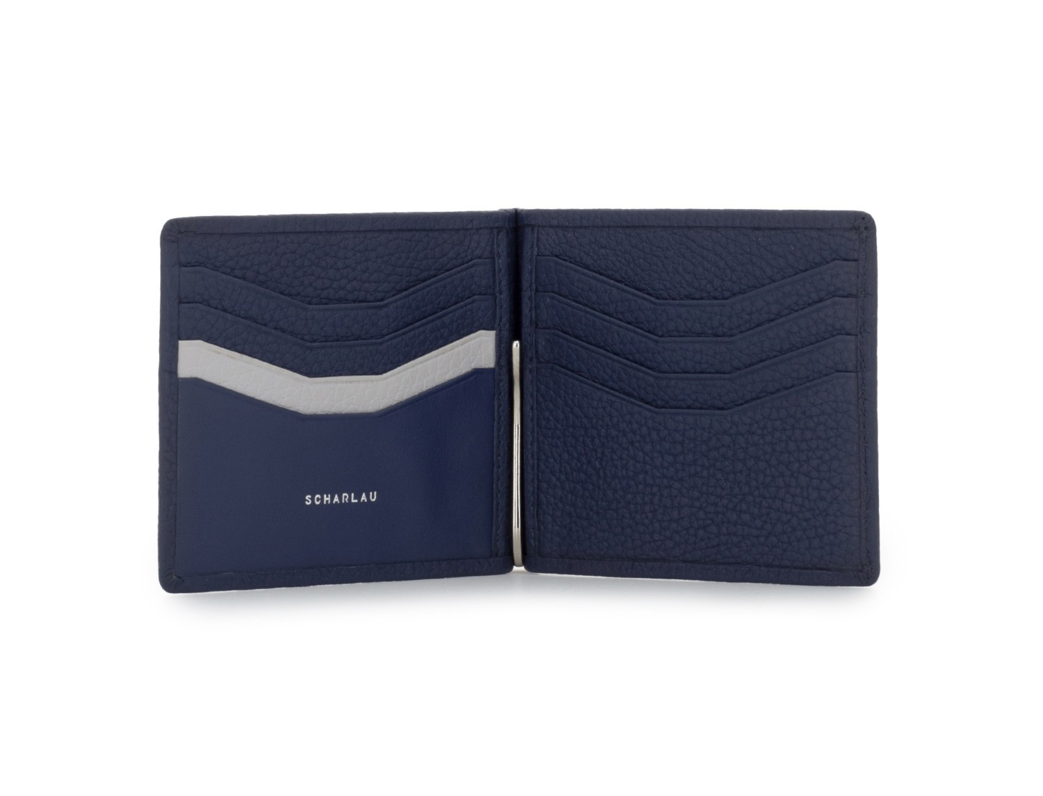 leather wallet with Money clip blue open