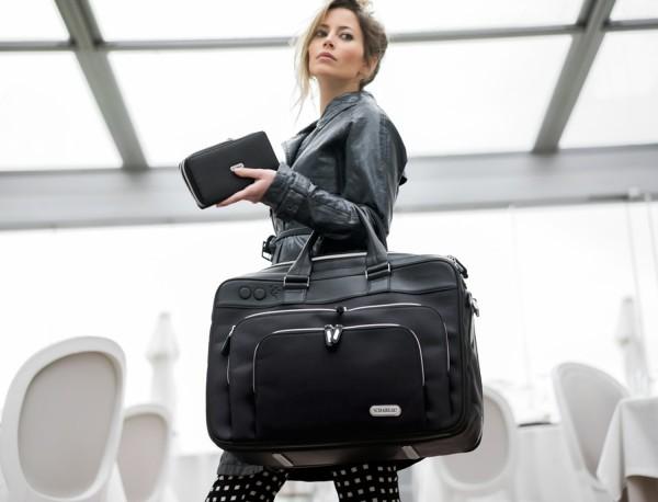 borsa da viaggio in nylon e pelle formato cabina lifestyle