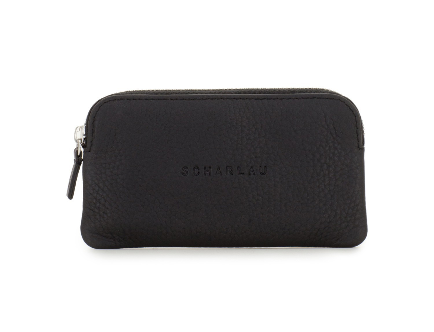 leather wallet for coins and key black front