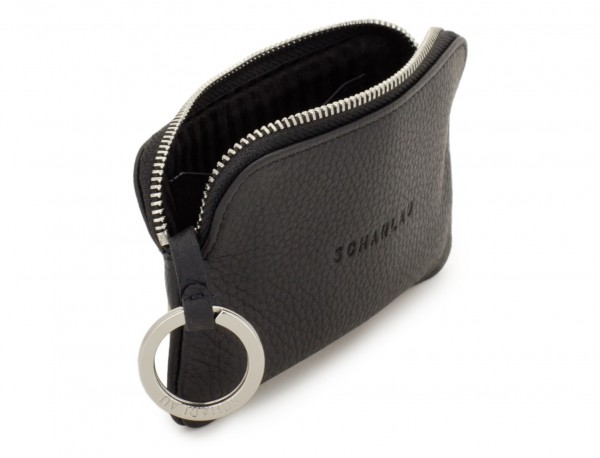 leather wallet for coins and key black open