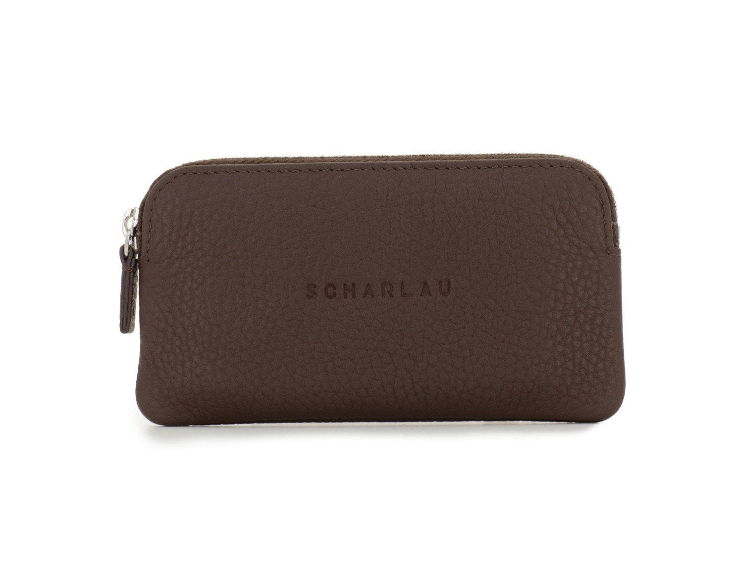 leather wallet for coins and key brown front