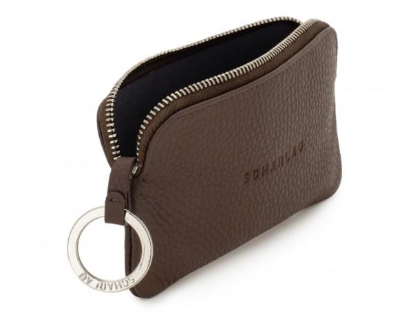 cartera para llaves y monedero de cuero marrón abierto