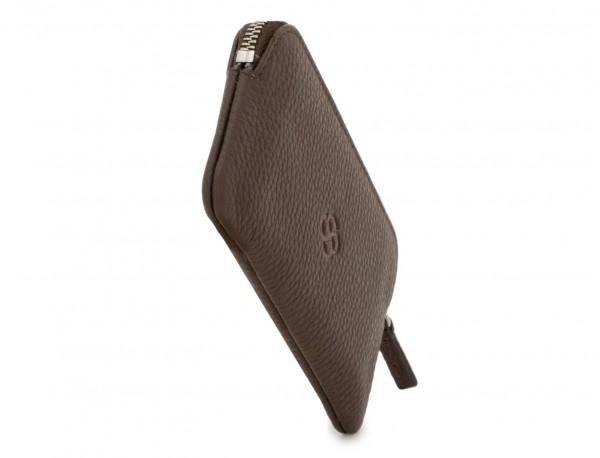 cartera para llaves y monedero de cuero marrón lado