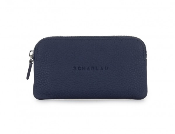 leather wallet for coins and key blue front