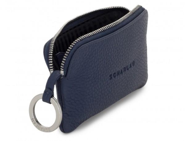 cartera para llaves y monedero de cuero azul abierto
