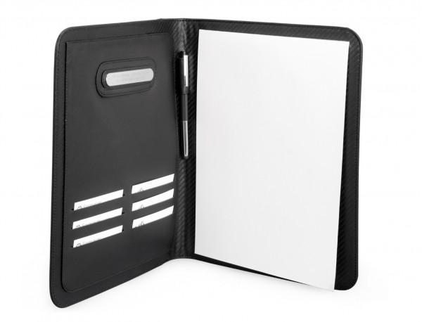 funda para tablet y blog de notas de cuero personalizado abierto
