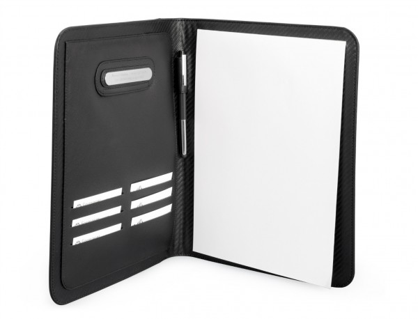 Leather letterpad A4 for business meetings with tablet compartment open