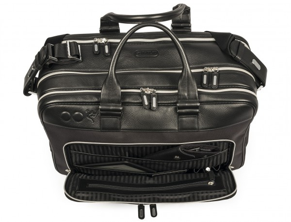 nylon and leather travel bag cabin size open