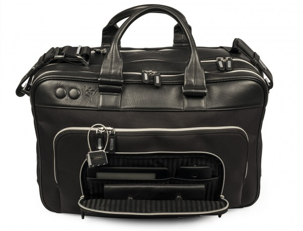 nylon and leather travel bag cabin size open front pocket