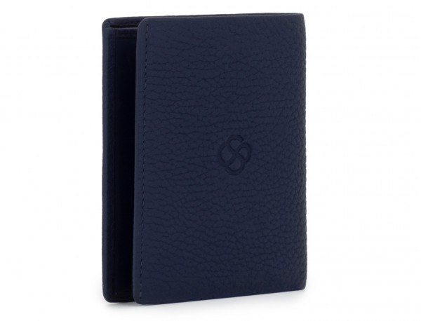leather small wallet blue side