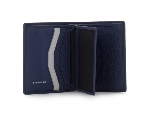 leather small wallet blue open