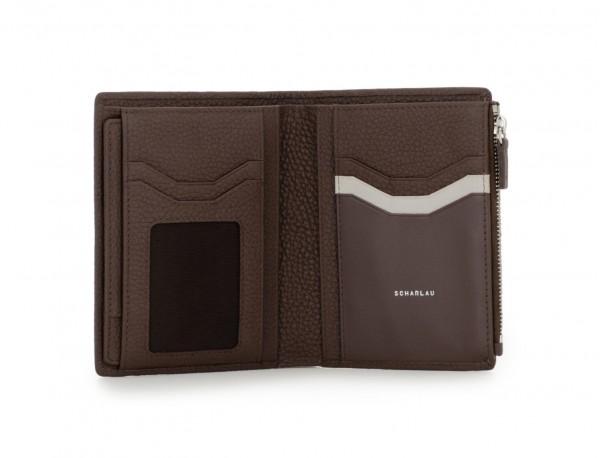 cartera grande de cuero marrón open