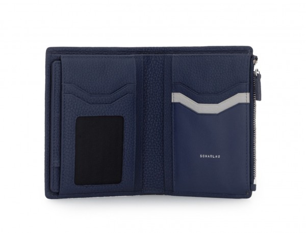 cartera grande de cuero azul inside