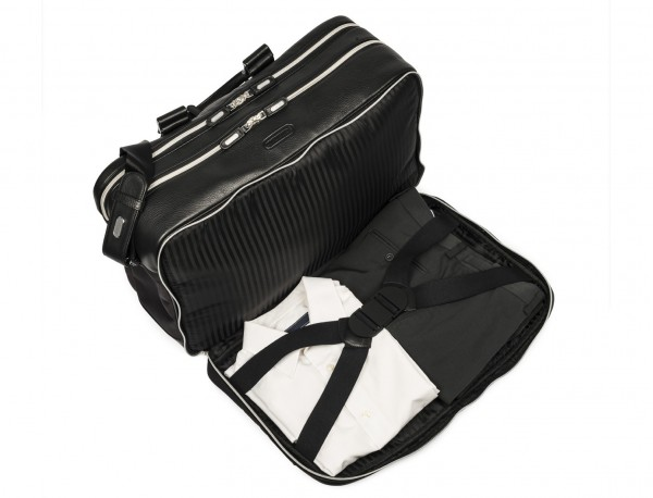 nylon and leather travel bag cabin size open one compartment