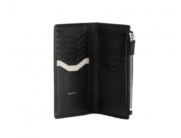 leather woman wallet black open