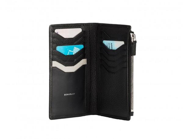 leather woman wallet black inside
