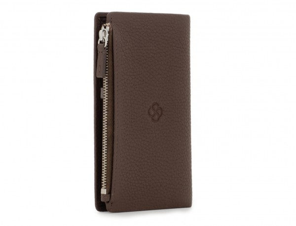leather woman wallet brown side