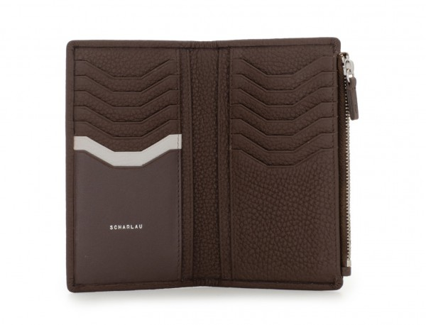 leather woman wallet brown open
