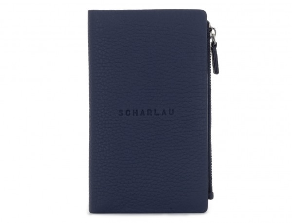 leather woman wallet blue front