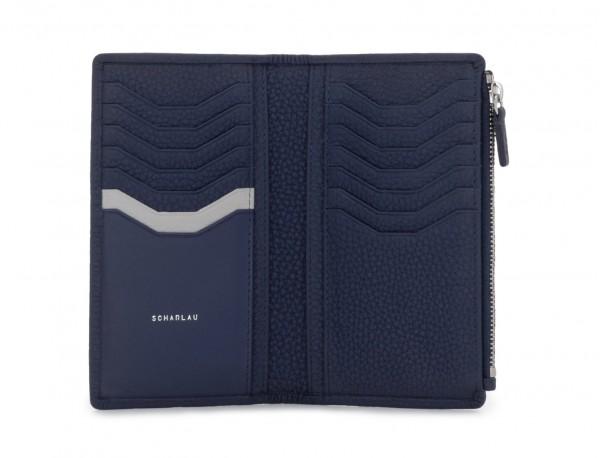 leather woman wallet blue open
