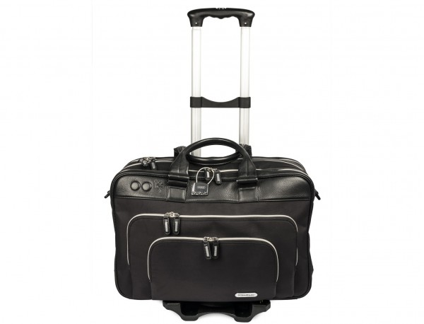 nylon and leather travel bag cabin size trolley