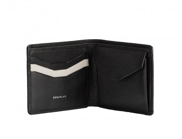 Mini portafoglio con portamonete in pelle nero open