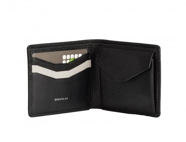 Mini portafoglio con portamonete in pelle nero inside