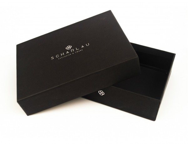 Mini portafoglio con portamonete in pelle nero box