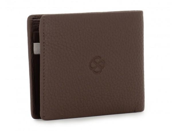 Mini portafoglio con portamonete in pelle marrone side