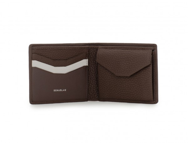 mini leather wallet brown open