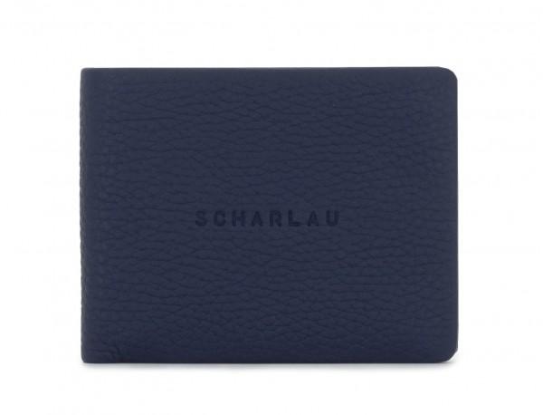 Mini portafoglio con portamonete in pelle blu frontal