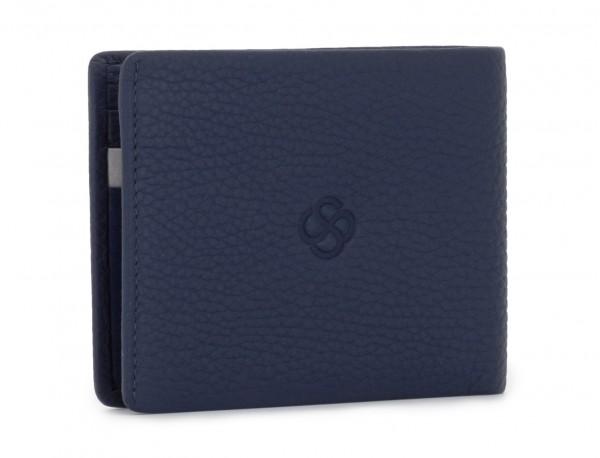 Mini portafoglio con portamonete in pelle blu side