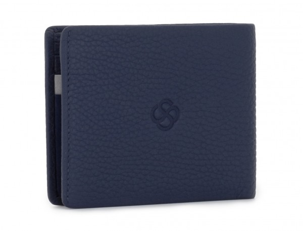 mini leather wallet blue side