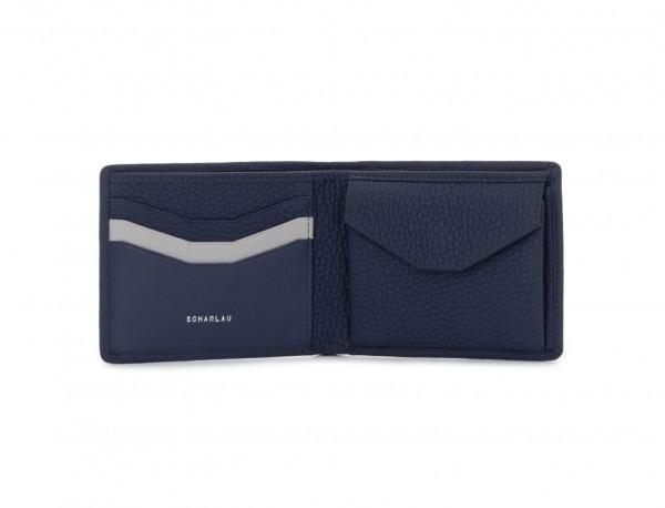 Mini portafoglio con portamonete in pelle blu open