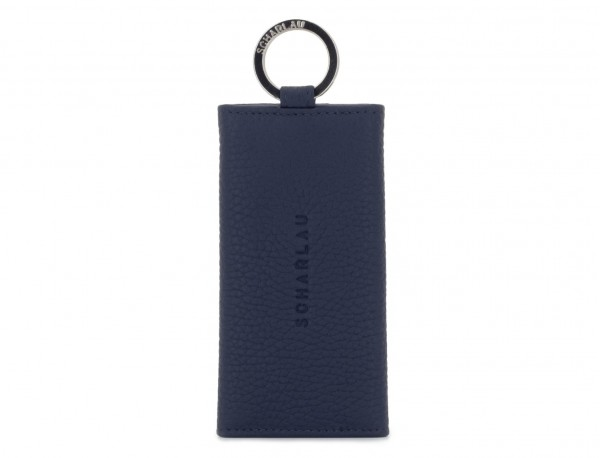 leather key holder blue front