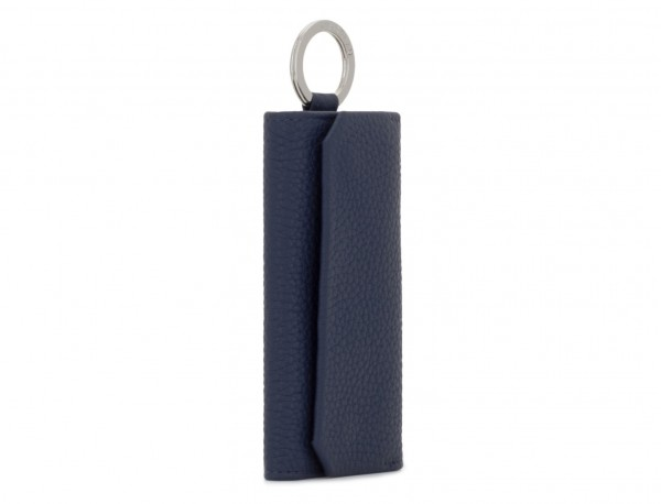 leather key holder blue side