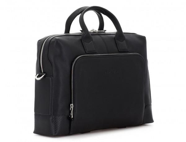 Leather briefbag in black side