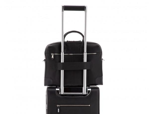 Leather briefbag in black trolley