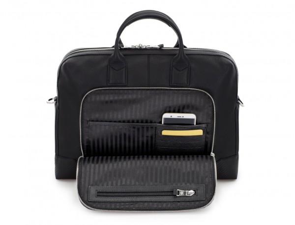 maletín de piel negro bolsillo
