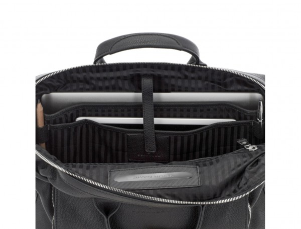 Leather briefbag in black laptop compartment