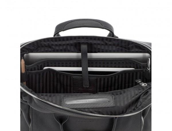maletín de piel negro ordenador