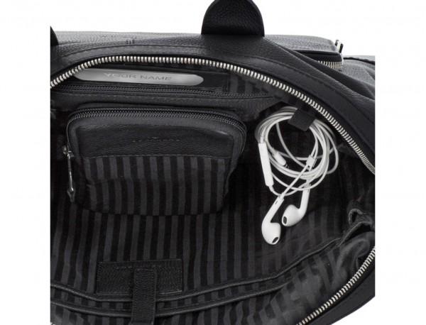 Leather briefbag in black metal plate