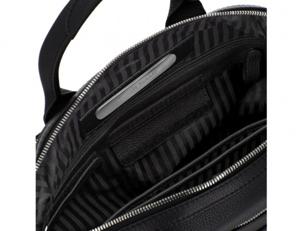 Leather briefbag in black personalized
