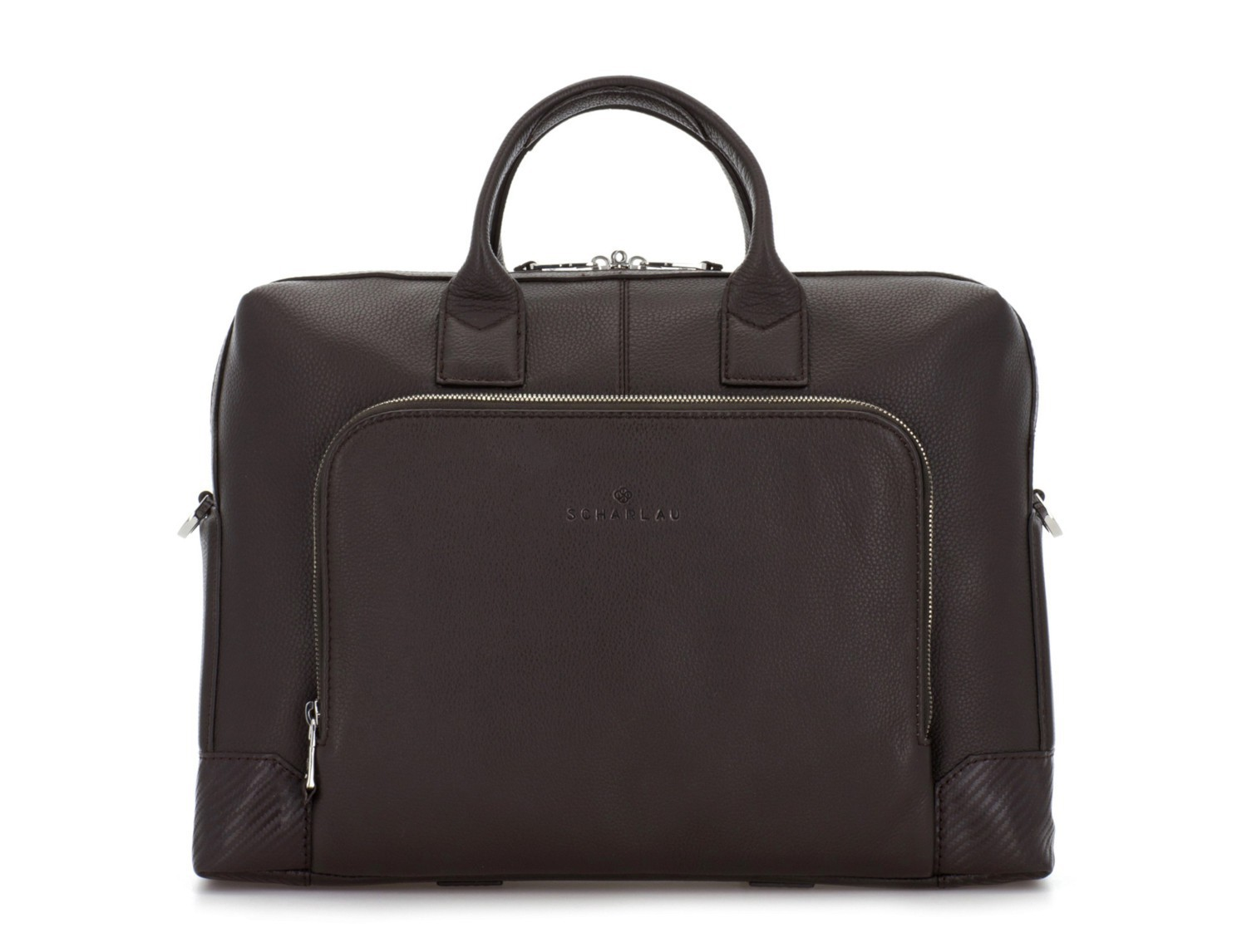 Leather briefbag in brown front