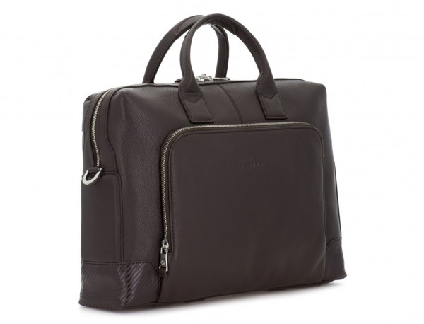 Leather briefbag in brown side