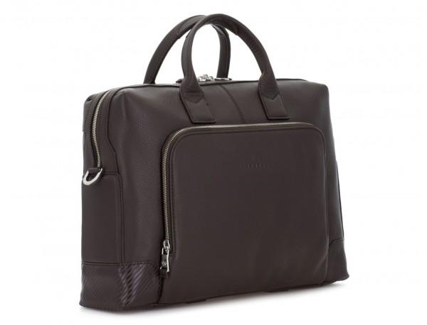 maletín de piel marrón lado