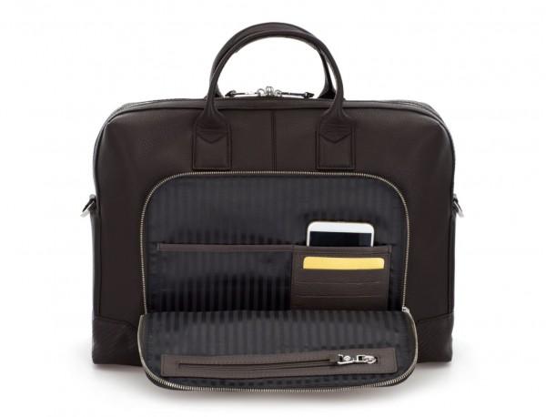 maletín de piel marrón bolsillo