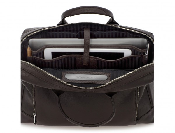 Leather briefbag in brown laptop compartment