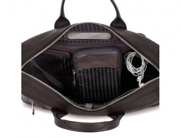 Leather briefbag in brown metal plate